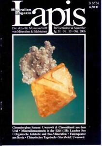 Mineralien Lapis Heft 10 Okt 2006 CHROM Uwarowit Eifel Quarz Gold Vogtland