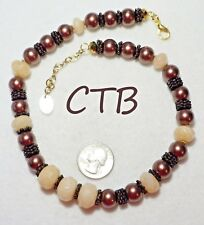 """Marbled Beige Glass Beads,18.5"""" Ooak Signed Ctb Necklace, Coppery Glass Pearls,"""