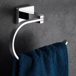Bathroom Brass Towel Holder Wall-Mounted Round Towel Ring Towel Rack Chrome