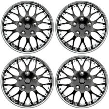 "4PC Set Hub Cap ICE BLACK / CHROME TRIM 15"" Inch for Rim Wheel Cover Caps Covers"