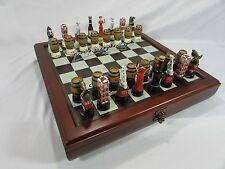 NEW Budweiser Beer Anheuser Busch Chess set~Clydsdale Horses~32 pc~Board~Storage