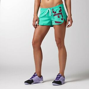 [Z91438] New Women's REEBOK Crossfit CF Workout Shorts - Teal