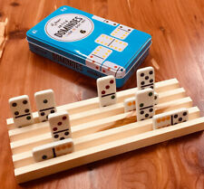 WOOD WOODEN DOMINO HOLDER MEXICAN TRAIN CHICKENFOOT 4 ROWS PER RACK HOLDER TRAY