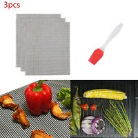 3X BBQ Grill Mesh Mat Set of Non Stick Barbecue Grill Sheet Liners Grilling Mats