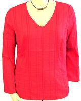 NEU Damen Tunika Long Bluse uni rot Crash Optik 3/4 Arm V Ausschnitt große Gr 44