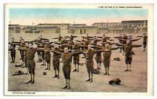 Early 1900s WWI-Era Life in the US Army Cantonment, Physical Exercise Postcard
