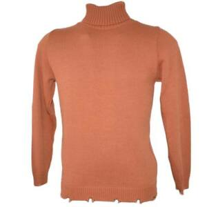 Maglione dolcevita uomo color caramello slim fit ad intessitura larga linea vint