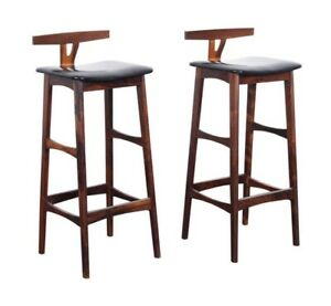 Two Rare Erik Buch for Dyrlund Rosewood Barstools in Excellent Condition 1960s