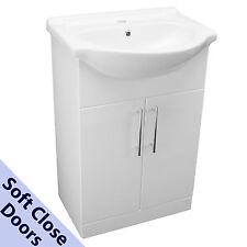 550mm BATHROOM VANITY UNIT SOFT CLOSE CUPBOARD & MODERN CERAMIC BASIN SINK WHITE
