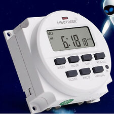 Heavy Duty Digital Electric Programmable Timer Dual Outlet Switch 7 Day White