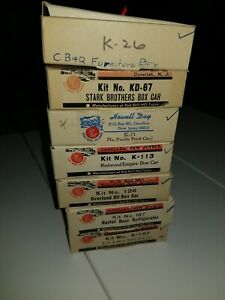 7 RED BALL Box Cars, including  Overland Oil   HO scale crafts man kit