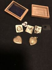 Vintage 40's 50's Sweetheart Box And  Lockets With Pictures World War II? Rare!