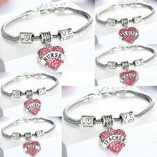 Pink Crystal Love Heart Charms Bracelet For Nurse Teacher Best Friend Gift Chain