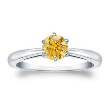 Diamantring Brillant Diamant 0,50 ct gelber Solitär 18K 750 Weißgold Zertifikat