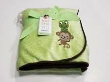 Nwt Carters Just One You Green Velour Monkey And Frog Brown Sherpa Baby Blanket