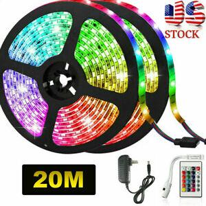 65.6ft RGB 3528 Flexible Led Strip Lights 24 Key Remote Control 12V DC Power Set