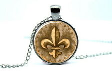 Lily Flower - Fleur de Lis - Gunmetal Black Photo Glass Dome Necklace Pendant