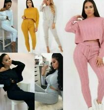 New Women Cable Knit Crop Top Suit - 2pcs Tracksuit Set - Co-ord Lounge Wear