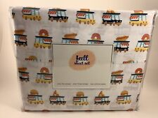 Kids 4 PC Full Bed Sheet Set w Food Truck Pizza Hamburger Hot Dog Donuts