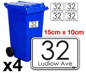 4 x Wheelie Bin House Numbers Stickers Wheely Dustbin Sticker Vinyl Peel&Stick