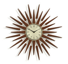 Mid-Century Modern Retro Sunburst Wall Clock Dark Wood Sunray/Star Newgate 65cm