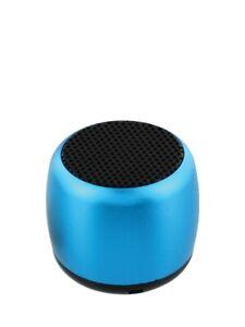 Electric Blue Portable Aluminium Mini Bluetooth Speaker 2.9x3.4cm