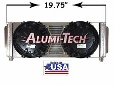 17.5 X 7 Aluminum Oil Cooler w/ Dual Spal Cooling Fans Remote Mount USA Made