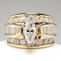 Luxury 14K Yellow Gold Marquise Cut White Sapphire Ring Wedding HOT Jewelry Hot