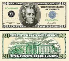 $20 Poker Play Money Twenty Dollar Bill Jackson ~ Fake Funny Money Novelty Note