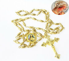"ADORABLE COPPER GOLD HOLY ROSARY 23""  DOUBLE MEDAL 54+5 BEADS USA SELLER"