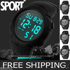 MEN'S WATERPROOF LCD DIGITAL SPORTS WATCH Army Military Dress Water Resistant AU