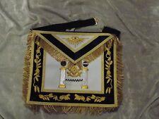 Past Master Masonic Apron Gold Bullion w/ Square Pillars Blue Satin Pocket NEW!