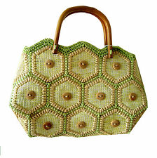 Woven Straw Like Octaganol Weave Pink Green Beige Buttons Handbag Purse Wood Hdl