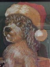 Art Cockapoo portrait picture framed Christmas Dog Santa Pastel Chalk signed