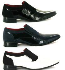 Para hombres Cuero Nobuck formal Forrado En Punta Zapatos Moda Boda, Fiesta (Hackney)