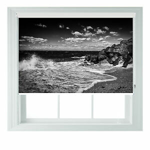 Beach B&W themed blackout roller blinds for Kitchen Bathroom various sizes rollo