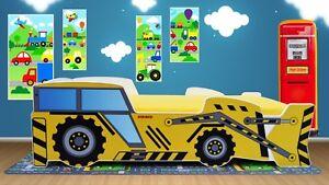 Boys Kids Toddler Bed Construction Digger Truck 160 x 80 cm with Mattress