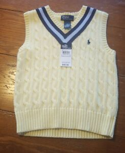 NWT New Boy's 6 Polo Ralph Lauren Lemon Yellow Cable Knit Sweater Vest