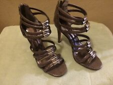 Coach Lanice Slate Grey Gloss Snake Embossed Caged High Heel Sandals 7m