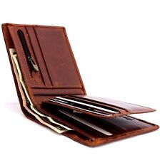 Men's Genuine Leather Wallet 8 Credit Card Slots 1 id Window 2 Bill Sections new