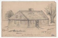 1945 MIDDLEBORO MASSACHUSETTS Drawing ART Fred Larrabee OLD LEWIS HOUSE Mass MA