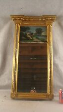 Antique 19C Federal Reverse Painted Couple Wall Mirror