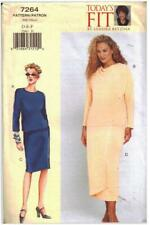 """Vogue EASY SEWING pattern 7264 long short WRAP SKIRT TOP SUIT 38-43"""" DEF 14-18"""