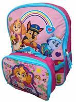 "Paw Patrol Girls 16"" Pink School Backpack Lunch Box Book Bag Combo SET Kids"