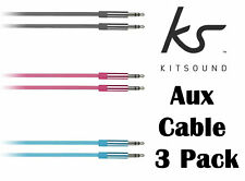Kitsound 1m 3.5mm Jack to Jack Aux Cable STEREO Audio Auxiliary PC Car 3 Pack