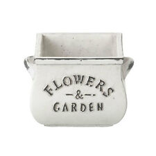 Shabby Chic Square 'Flowers & Garden' Pot Planter in White by Parlane