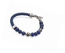 Fred Bennett Blue Lapis Bead and Blue Leather Bracelet
