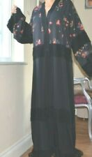 DOLCE & GABBANA Runway Black Floral Abaya Lace Kimono Dress New tag 42 Med 4450