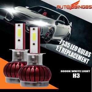 2PCS H3 LED Headlight Bulb 6000K Xenon White HiLo Beam Front Light 30000LM 40W