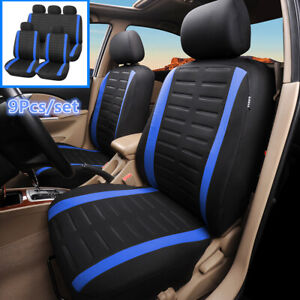 9Pcs Black/Blue Car Seat Cover Front Rear Full Set For Interior Accessories